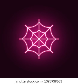 Spider web neon icon. Elements of Halloween set. Simple icon for websites, web design, mobile app, info graphics