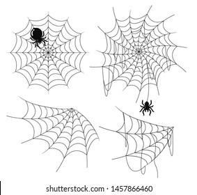 The spider web is old and torn. There is a spider hanging on top. For decoration on Halloween