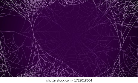 Spider Web On Dark Background Halloween Design Elements Spooky Scary Horror Decor Vector