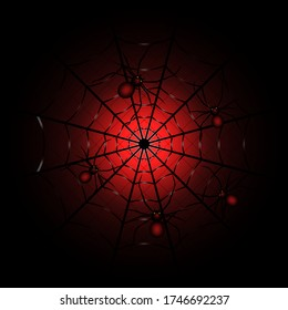 Spider web on red and black background. Spiders on the web. A black widow spider. Stock vector illustration on a white isolated background.