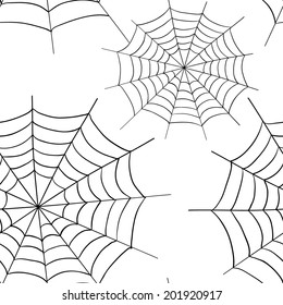 Spider web seamless pattern background. Hand drawn sketch for halloween. Vector illustration.
