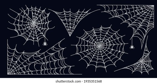 Spider web set isolated on dark background. Spooky Halloween cobwebs with spiders. Outline vector illustration
