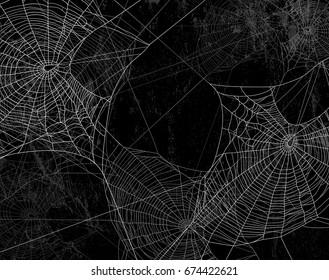 Spinnennetzsilhouette auf schwarzer Wand - Halloween, dunkler Hintergrund