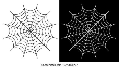 Spider web vector icon white and black color on white and black background - Vector illustration