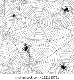 Spiders and cobwebs. Seamless repeating vector background. Tangled entwined halloween pattern. Black insects with web on white. Abstract terrible texture for scary design. Concept of abyss or trap.