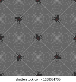 Spiders on Webs seamless pattern on gray background. halloween print