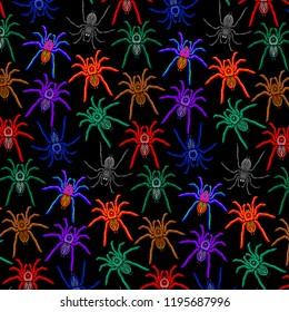 Spiders Pattern Colorful Tarantulas Decorative Halloween Background on Black