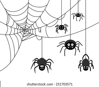 Spiders weave a cobwebs. Dangerous insect, spider webs. Vector illustration