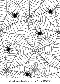 spiders in web - seamless pattern