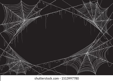 Spiderweb isolated black background for halloween theme night party. cobweb vector eps10