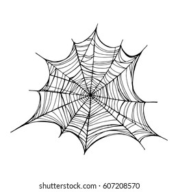 Spiderweb, trap. Vector illustration, isolated. Web for Halloween. Line drawing with mascara, handmade. Element for Gothic tattoo design. Decorative print for clothes, t-shirts.