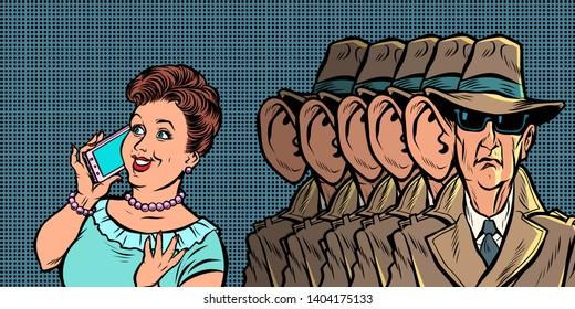 Spies eavesdropping a telephone conversation women. Comic cartoon pop art retro illustration drawing