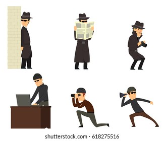 Spies isolated on white background. vector illustration