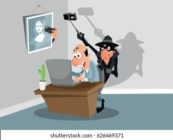 Spies take pictures of a computer screen