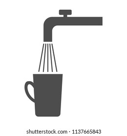 Spigot, tap water and cup. Vector.