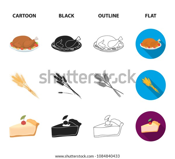 Spike of wheat, a piece of pie with cranberries, pumpkin, national flag.Canada thanksgiving day set collection icons in cartoon,black,outline,flat style vector symbol stock illustration web.