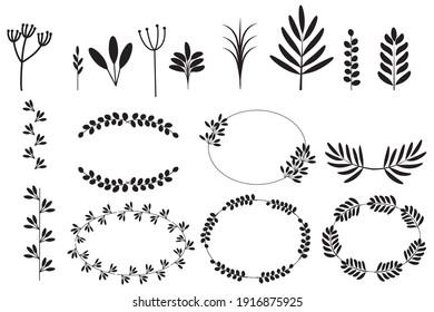Spikelets set in linear style. Sketch botanical illustration. Decorative element. Wedding design. Stock image. EPS 10.