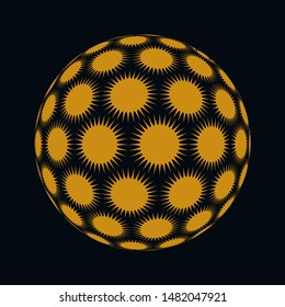 spiky stars ball in black and gold