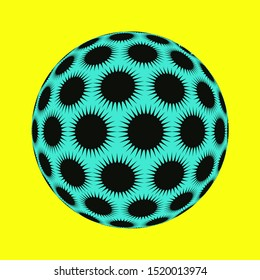 spiky stars ball in pop black blue