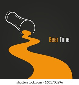 spilled beer glass design background