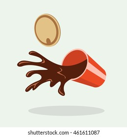 Spilled coffee. Hot chocolate, cocoa. Simple, flat style. Graphic vector illustration.