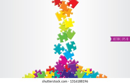 Spilled colored vector puzzles