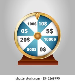Spin & Win Spinning Contest Game Dollars Vector