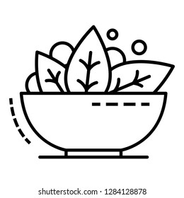 Spinach bowl icon. Outline spinach bowl vector icon for web design isolated on white background