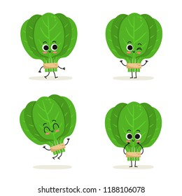 Spinach. Cute cartoon vegan protein food vector character set isolated on white