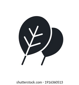 Spinach icon. Black isolated silhouette. Fill solid icon. Modern design. Vector illustration. Vegetables.