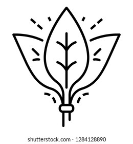 Spinach leaf branch icon. Outline spinach leaf branch vector icon for web design isolated on white background