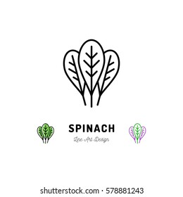 Spinach leaves icon Vegetables logo Spice. Thin line art design, Vector outline illustration