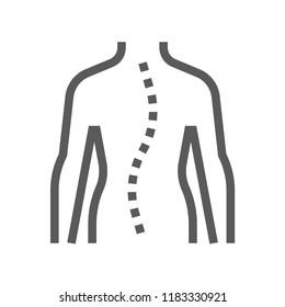 Spinal Curvature. Orthopedic and trauma rehabilitation Vector Line Icon