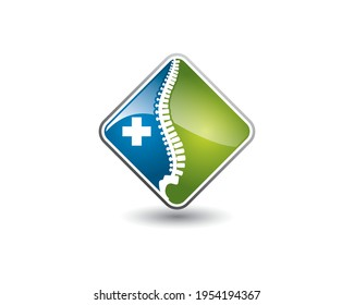 spine clinic chiropractic square glossy application icon online