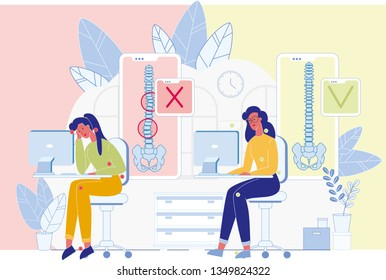 Spine Diseases, Posture Problems Prevention Flat Vector Banner. Woman Sitting at Desk, Working on Computer Illustration. Wrong, Right Siting Position Medical Scheme. Workplace Ergonomics Infographics