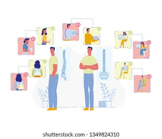 Spine Diseases Prevention Flat Vector Concept. Man and Woman Characters Carrying Heavy Load or Backpack, Incorrect Sitting, Driving Car Illustration. Posture Problems Causes, Wrong, Right Scheme
