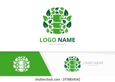 Spine and leaves logo combination. Spinal diagnostic center logotype design template.