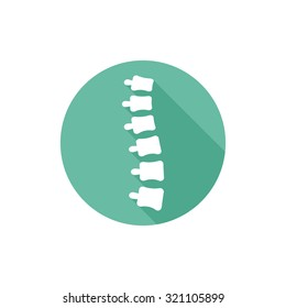 Spine orthopedic symbol, isolated vector round flat icon with long shadow