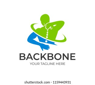 Spine pain in sacral and cervical region, human holding his back in area pain, logo design. Spine medicine and backbone health, vector design and illustration