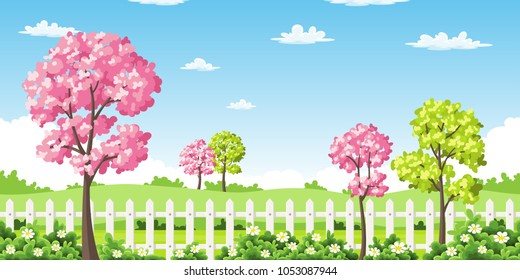 Sping landscape with trees, flowers and fence