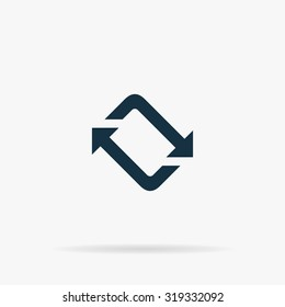 Spinning, rotating arrows. Flat vector web icon or sign on grey background with shadow. Collection modern trend concept design style illustration symbol