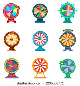 Spinning wheels of fortune with arrows, set of isolated gambling roulette for internet casino or betting site icons. Jackpot and gambling, luck and game, play and fortune, lottery and winner theme