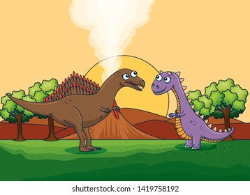 spinosaurus and carnotaurus with volcano smoke and trees