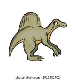 Spinosaurus Dinosaur on white background Cute Cartoon Vector illustration