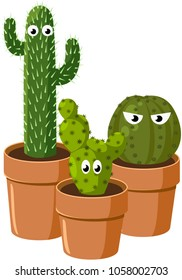 Spiny green cactus with eyes. Vector
