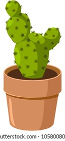 Spiny green cactus growing in pot. Vector.