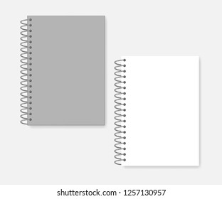 Spiral A4 notebook, realistic vector mockup. Wire bound blank note book: white page and gray cover, mock-up.