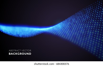 Spiral abstract neon light in motion. Vector digital blue LED lights wave with motion effect on black background. Glowing illumination light of futuristic swirl for tv screen backdrop.