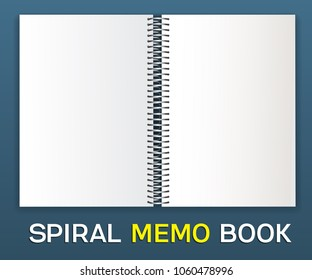 Spiral album-notepad. Horizontal: An empty cover for pasting your images is a template. Lie down on the table, open.Spiral on the center.Isolated on blue background, vector illustration