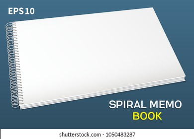 Spiral album-notepad. Horizontal: A simple cover for pasting your images is a template. Lie down on the table, in vospepseve.Spiral left. Isolated on blue background, vector illustration